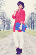 black vintage hat - red vintage blazer - gold vintage blazer - blue Zara bag - b