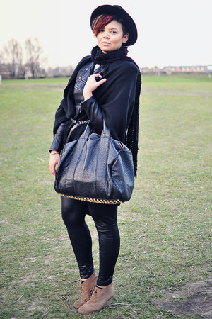 black vintage hat - black Oh my Frock jacket - black unknown bag - light brown a