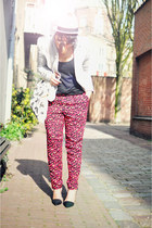 silver Bershka blazer - neutral DIY bag - black H&M top - hot pink H&M pants - b