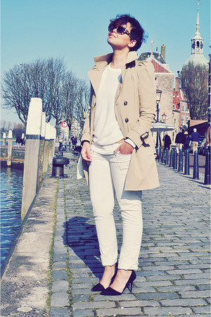 camel Zara coat - white Topshop sweater - eggshell Zara pants - black Zara heels