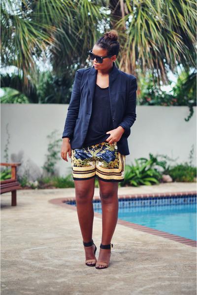 black Zara blazer - black DIY shorts - black ydeltuyt sunglasses