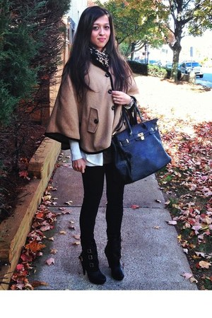 light brown coat Forever 21 cape - black booties just fab boots