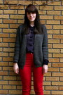 Red-gap-jeans-navy-button-up-zellers-shirt-gray-grey-wool-h-m-cardigan