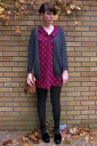 deep purple polka dot asoss dress - platforms asos shoes - wool H&M cardigan