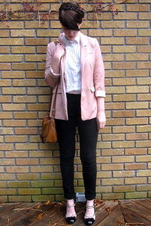 eggshell two-tone asos heels - black Jacob jeans - light pink H&amp;M blazer