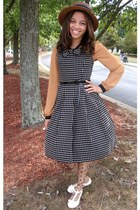 black polkadot Innocent World dress - light brown Urban Outfitters hat