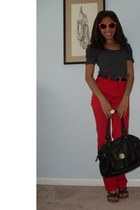 red high-waisted acne jeans - black Urban Outfitters bag
