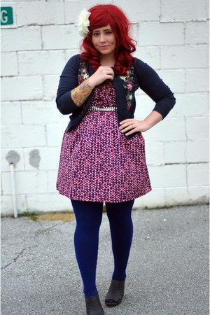 red Charlotte Russe dress - navy We Love Colors tights - navy Forever 21 cardiga