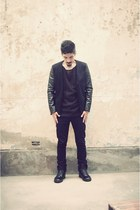 black supra boots - black leather  denim jacket - black AUTFIT sweater