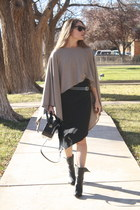 calvin klein boots - Forever 21 dress - poncho Shoppalu sweater