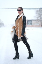 shearling Forever 21 vest - harness Dolce Vita boots - leather Zara jacket