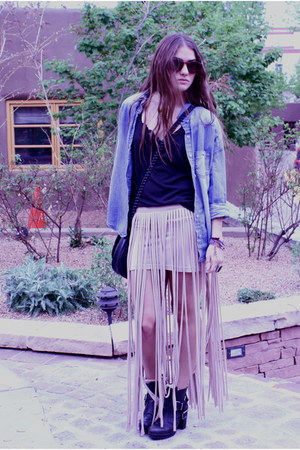 leather Dolce Vita boots - denim f21 top - fringe asos skirt