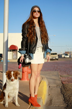 Dolce Vita boots - leather Zara jacket - leather Forever 21 skirt