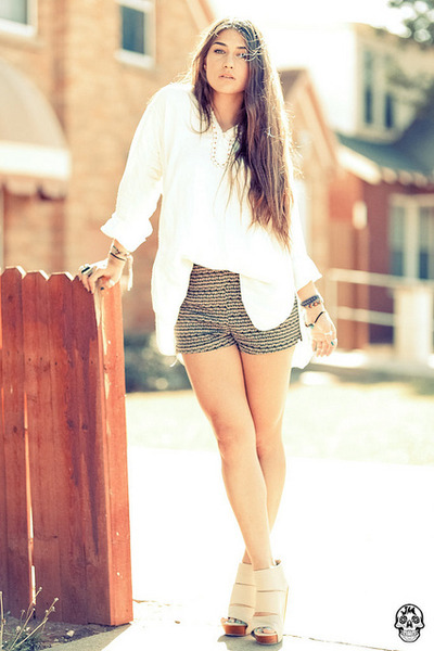 brown high waste Urban shorts - nude Messeca wedges - ivory vintage blouse