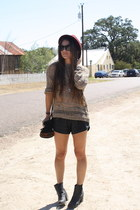tattered Urban Outfitters jumper - leather H&M boots - fedora Forever 21 hat