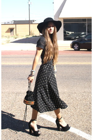 polka dot Forever 21 skirt - vintage hat - nirvana Urban Outfitters shirt