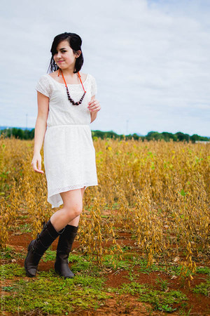 dark brown decree boots - ivory Aeropostale dress