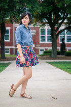 periwinkle Old Navy shirt - blue Sunnygirl skirt - gold xhilaration sandals