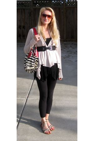 beige H&M cardigan - black Guess leggings - beige Steve Madden shoes