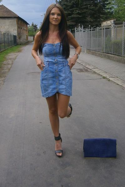 Blue Jeans Dress Dresses Purple Violet Clutch Bags Black Shoes Sandals Heels | u0026quot;Thanks for ...