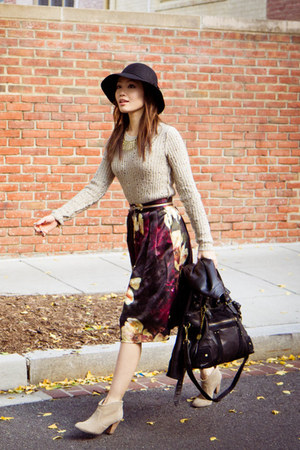 H&M skirt - Report boots - Target hat - Express jacket - free people sweater