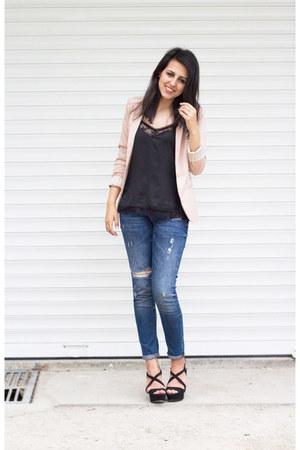 black Zara sandals - navy Zara jeans - light pink pull&bear blazer