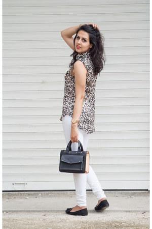 tan H&M blouse - white Zara jeans - black Zara bag - black pull&bear loafers