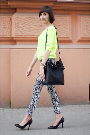 black  bag - white H&amp;M pants - yellow reserved blouse - black  heels