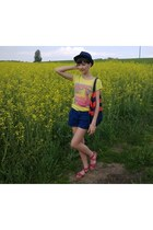 yellow Top Secret t-shirt - navy reserved hat - red H&M bag