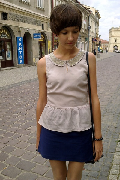 neutral H&M blouse - blue H&M skirt