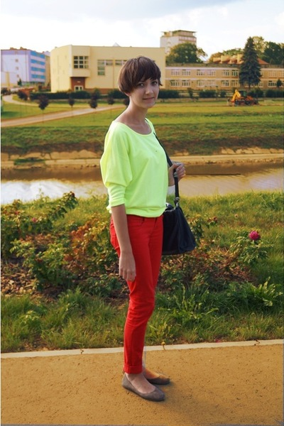 red NN pants - black reserved bag - yellow reserved blouse