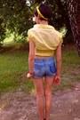 Yellow-diy-scarf-blue-diy-shorts-black-stradivarius-sandals