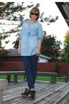 H&M blouse - garage jeans - Jeffrey Campbell shoes