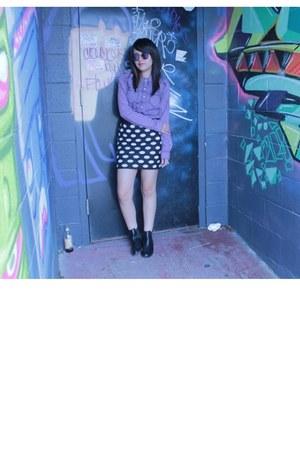 polka dots Forever 21 skirt - vintage sunglasses - purple 80s blouse