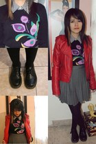 red jacket - Dr Martens shoes - DKNY sweater - Forever 21 skirt