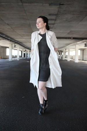 black Zara shoes - charcoal gray Helmut Lang dress - off white H&M coat