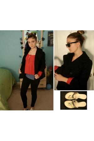 pink Forever21 sweater - black banana republic coat - blue Forever21 top - black