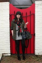 white striped Forever 21 dress - olive green parka Wet Seal jacket - ruby red fl