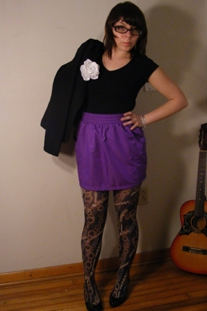 American Apparel skirt - Salvation Army blazer - Wet Seal shirt - Wet Seal belt