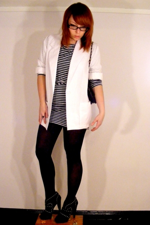 black dress - white blazer - black studded shoes - black tights - black purse