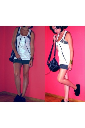 sequin Atmosphere top - black creepers shoes - black F&F bag