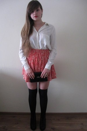 salmon Hugo Boss skirt - ivory Topshop shirt - black Hanes socks