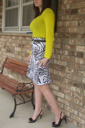 yellow Old Navy shirt - white Charlotte Russe skirt - black payless shoes