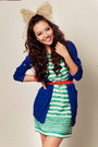 Stripes-dress-red-belt-blue-cardigan-bangles-bracelet-bow-tie