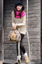 black hat - black leggings - hot pink tube scarf - camel sweatshirt - eggshell s