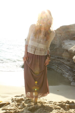 maxi Urban Outfitters dress - pendent Nordstrom necklace - knit Urban Outfitters