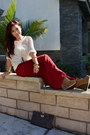 Crimson-wide-leg-forever21-pants-ivory-crochet-urban-outfitters-sweater