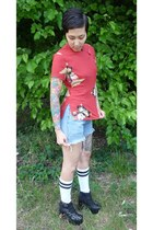 black Jeffrey Campbell boots - blue Vintage Levis shorts - red vintage blouse