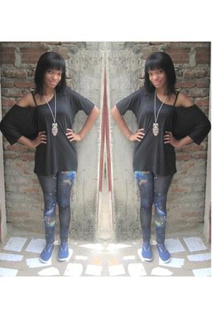 romwe leggings - Zara shirt