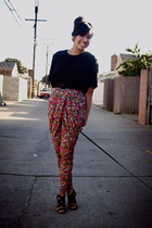 black vintage top - red H&M pants - black Target shoes - black f21 belt